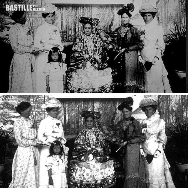 慈禧與公使夫人合影,看見下面那張左一名左二兩名夫人,在曝光時稍為晃動頭部後,拍出來的相片樣貌模糊 (網上圖片)