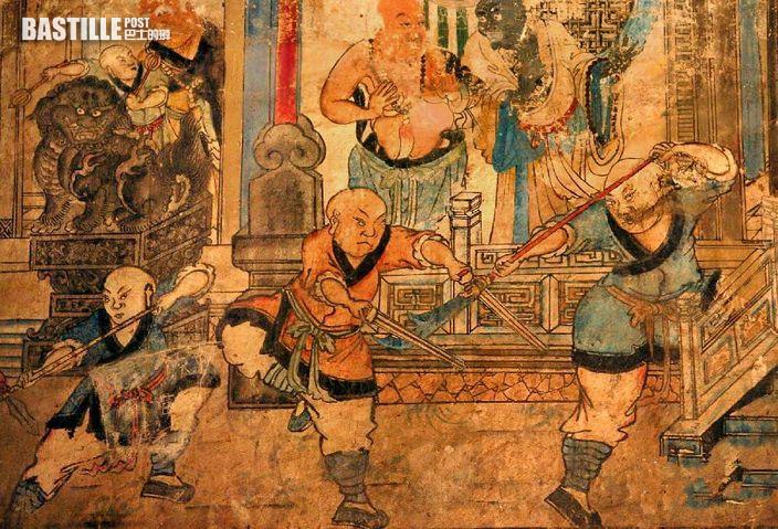少林寺白衣觀音殿明代壁畫《少林武僧合練圖》局部 (網上圖片)