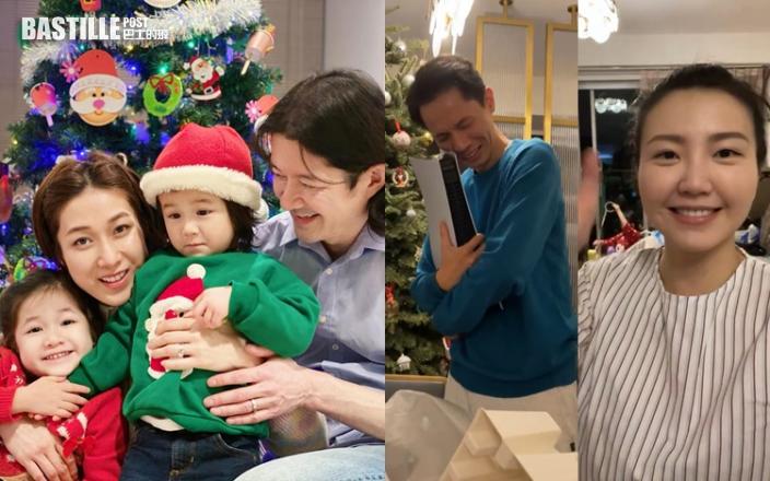 鍾嘉欣最開心一家四口共度聖誕 吳若希直播老公拆禮物