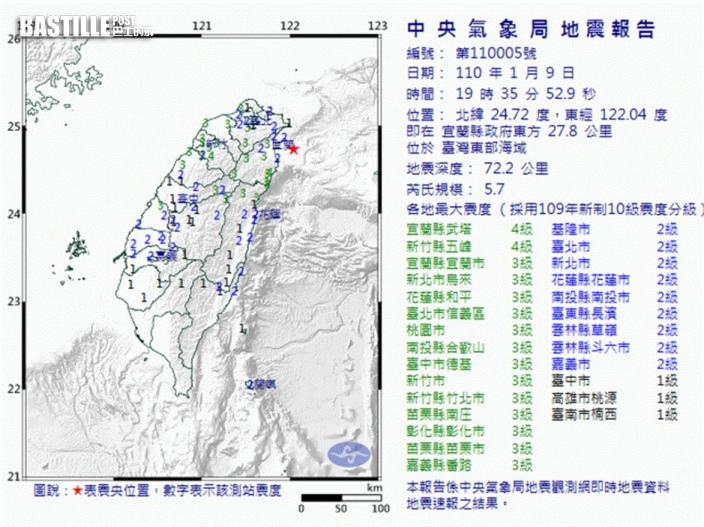 台灣東部海域5.7級地震 多地明顯有感