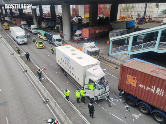 葵涌中型貨車撼拖頭車釀2傷 跟車工重創昏迷