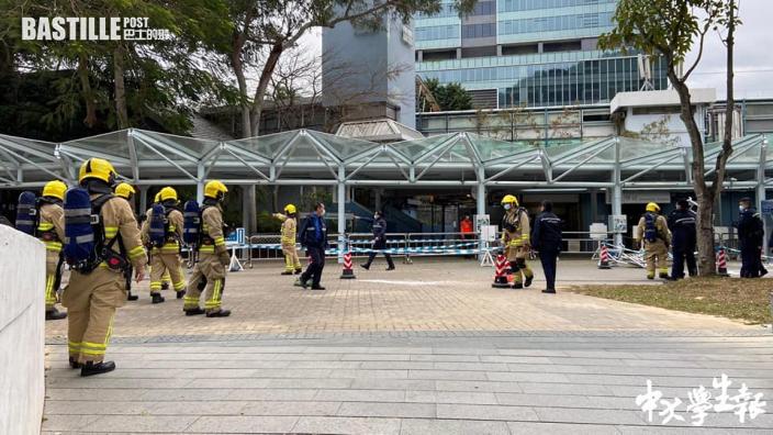 多名警員及消防到中大 學生會稱一學生被捕
