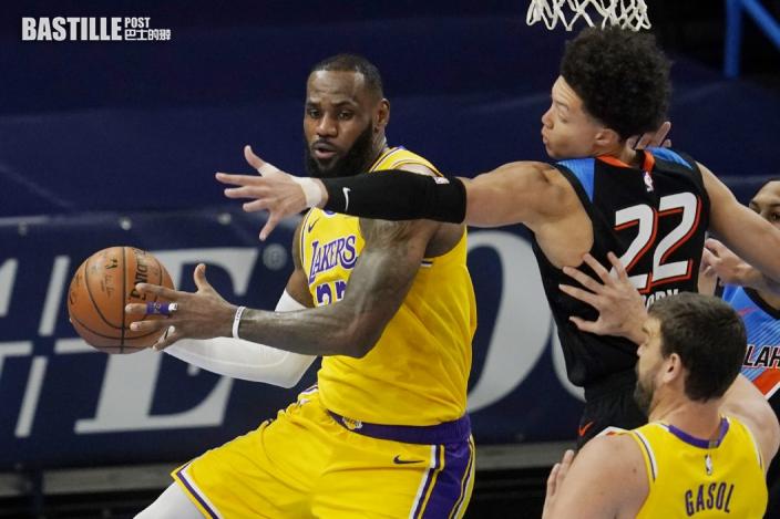 【NBA】占士廿六分率湖人挫雷霆 破隊史紀錄開季作客七連勝