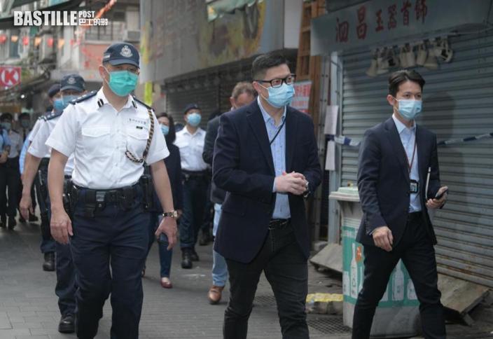 【爆疫一周年】鄧炳強及區嘉宏赴佐敦「受限區域」視察