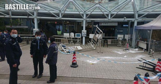 警方表示,中午12時許收到中大保安報案,表示有數人破壞校內圍欄,期間有保安被灑不明粉末。(中大學生會Telegram圖片)