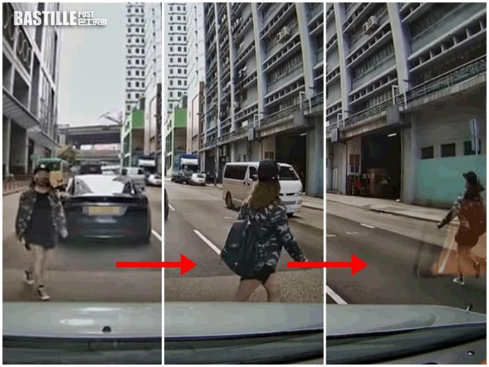 【有片】葵涌女馬路中橫衝直撞 急步擋車險生意外