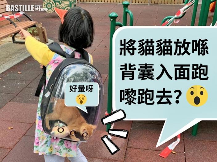 【Juicy叮】女童裝貓入背囊公園玩耍 網民批當生命係玩具