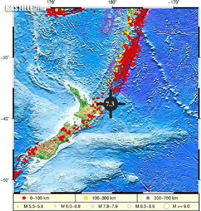 紐西蘭對開海域發生7級以上地震