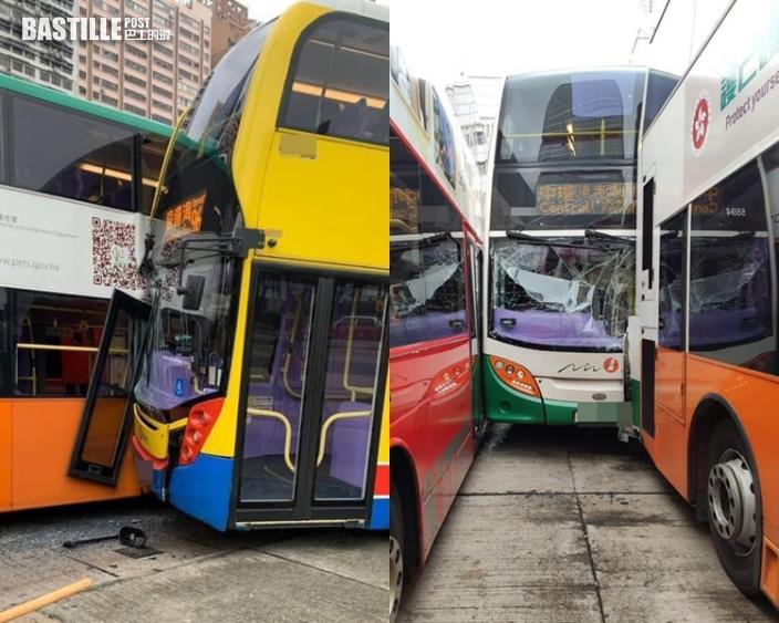 港澳碼頭4巴士相撞 2人受傷