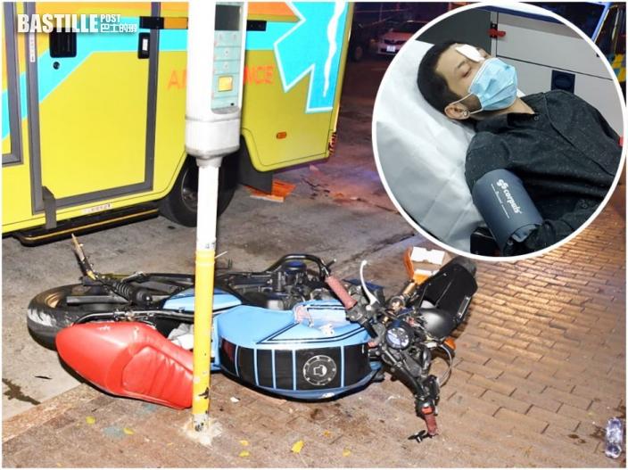 油麻地22歲鐵騎士撞咪表柱 毀27年車齡電單車