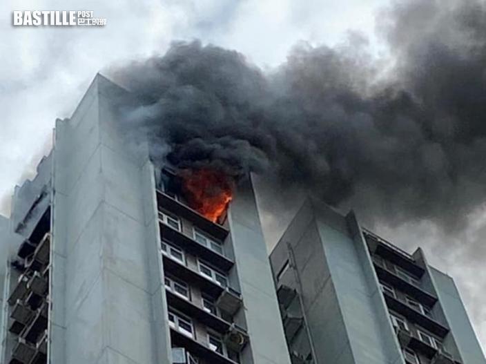 太古城華山閣火警冒大量黑煙 冷氣機被燒至墮落馬路