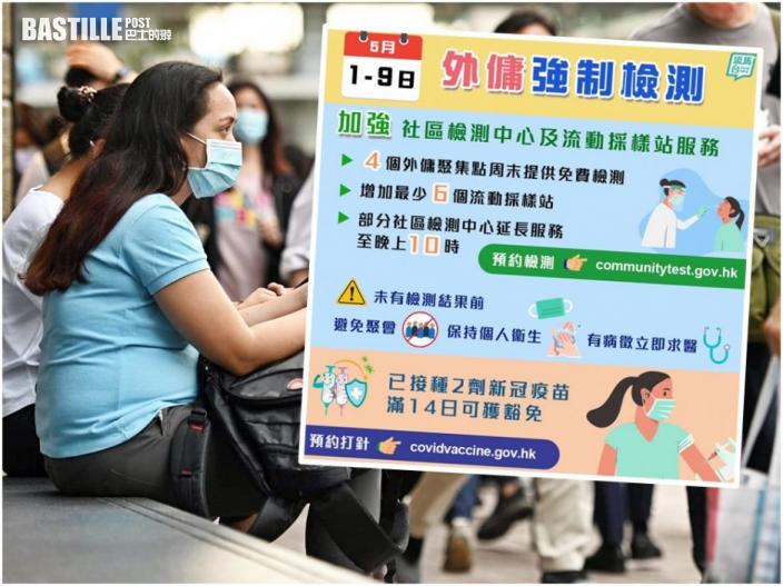 【變種病毒】全港外傭5月9日前強檢 採樣站一帖睇