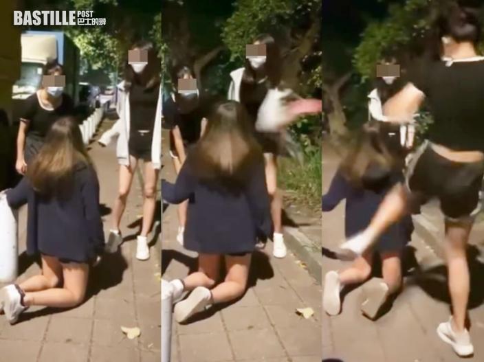 【片段】天水圍童黨狂摑少女逾30巴 迫下跪「行刑式」踢腹背