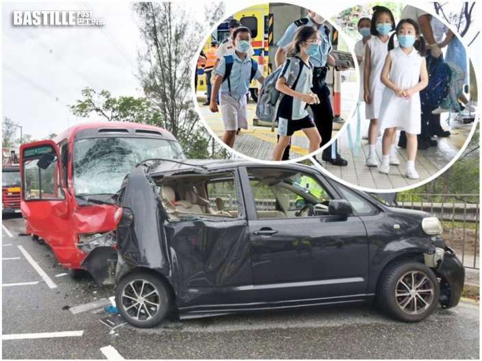 【車Cam直擊】長沙灣大埔道校巴私家車相撞 14傷包括小學生