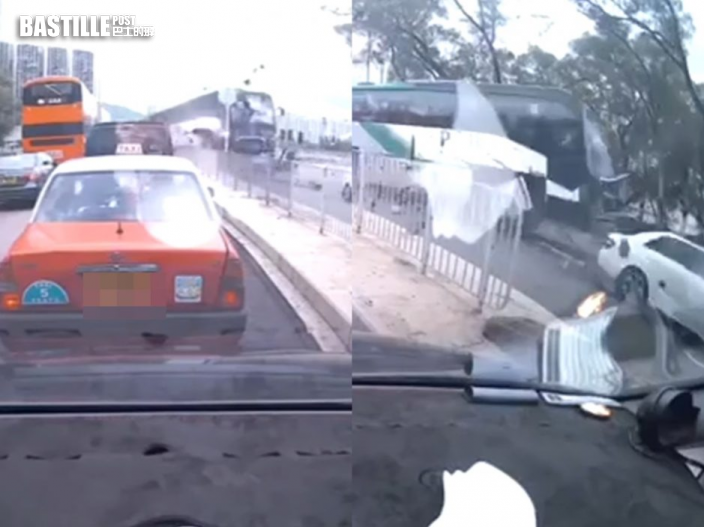 【片段】載滿學生校巴高速撞向私家車 衝落城門河畔單車徑釀11傷
