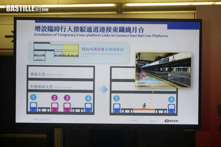 紅磡站新月台本月20日啟用 東鐵綫乘客要上落電梯轉乘西鐵綫