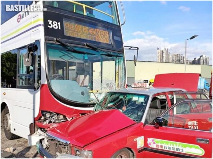 港鐵巴士攔腰撞的士 元朗大棠車禍約10人傷