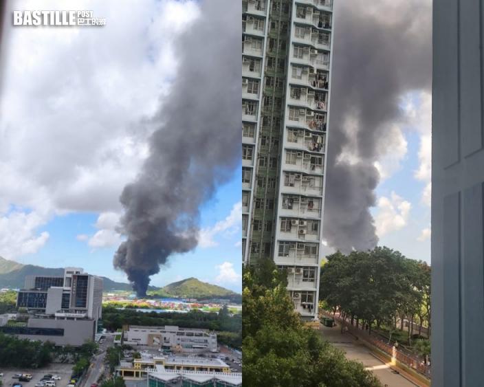 流浮山塑膠廠起火 黑煙濃罩天水圍