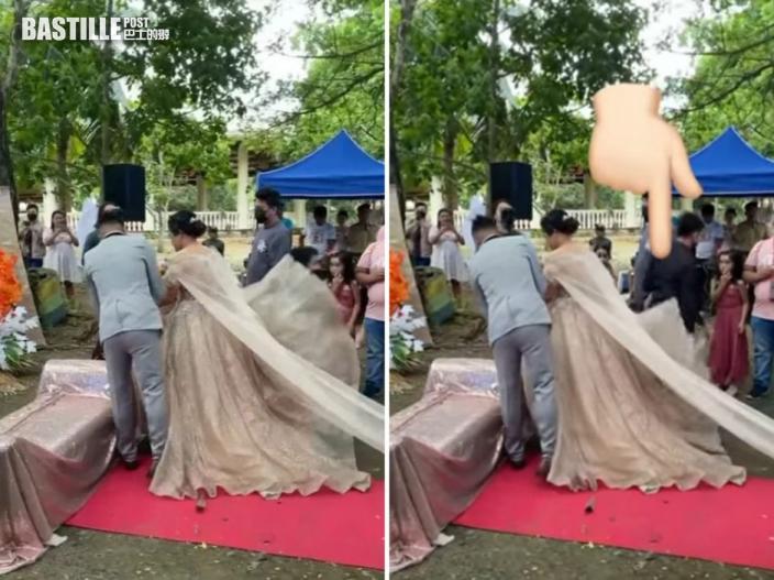 新娘行紅地氈裙底鑽出神秘男 真相令人起敬