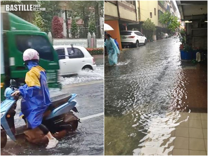 台中彰化暴雨成災 水浸門前一片汪洋