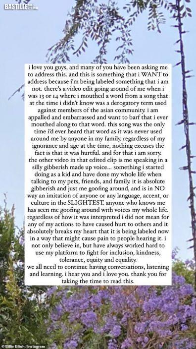 被標籤歧視主義者感心碎 Billie Eilish撰長文為辱華事件道歉