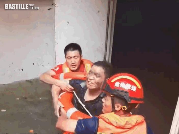 鄭州暴雨水浸停車場1男子被困4日 奇蹟生還救出送院