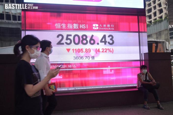 港股連跌3日 《彭博》報道傳美國限制基金投資中港市場