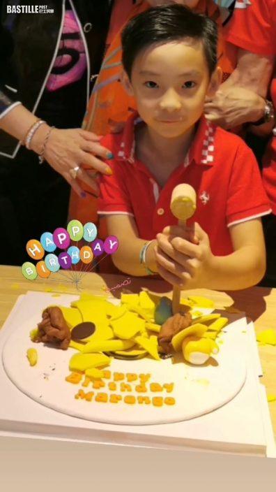 疫下開簡單小型生日會慶祝 陳伶俐扑爆蛋糕賀細仔7歲
