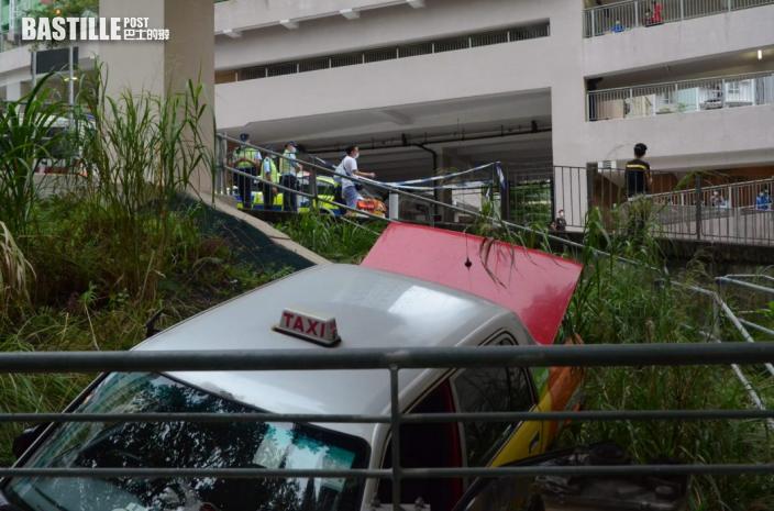 沙田的士失控衝落斜坡 司機一度被困