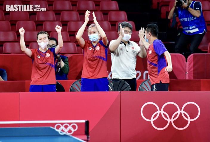 【東奧乒乓】港女隊殺入團體賽四強 李皓晴指教練鼓勵很重要