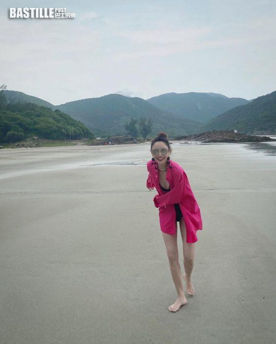 打風無損雅興去沙灘 鄭希怡晒腹肌:落雨也有落雨的快樂