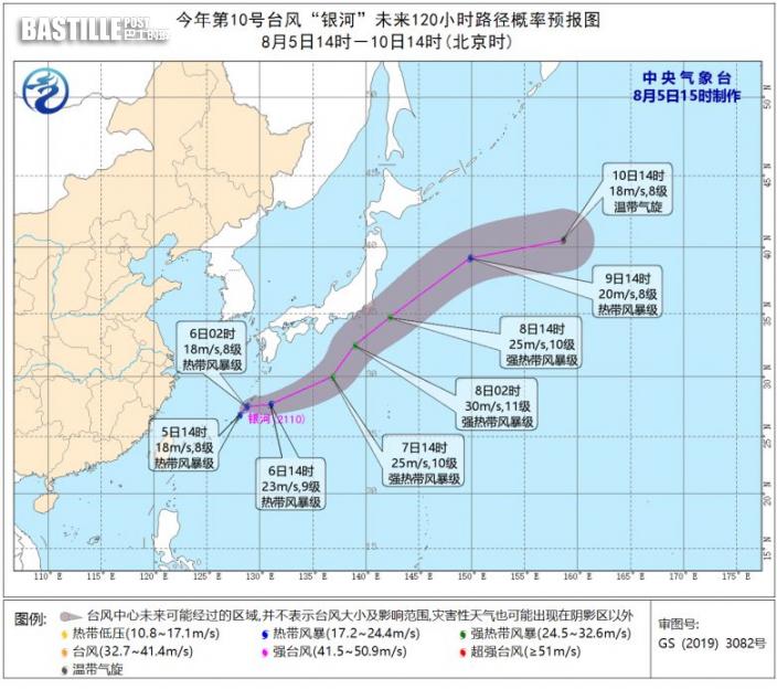 三旋共舞 風暴「銀河」形成料奧運閉幕日最接近東京