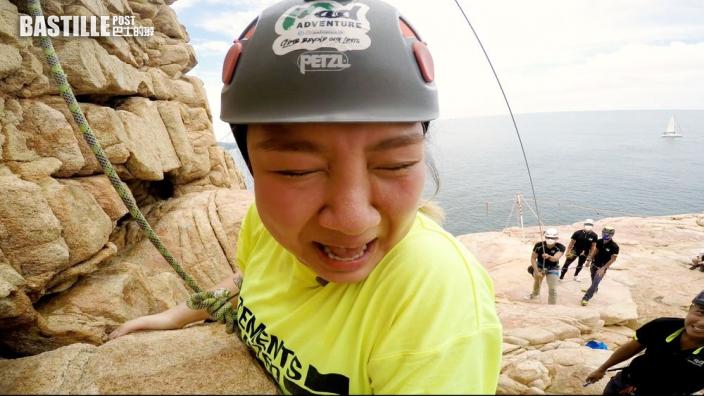 鄭欣宜尖叫「找數」 挑戰攀石飛索
