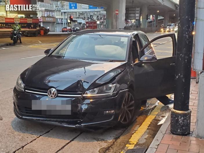 銅鑼灣私家車失控撞欄 女司機輕傷送院