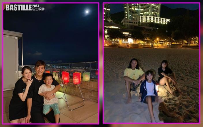 黎諾懿蘇永康囝囝對燈籠各有喜好     蔡一智一家沙灘賞月