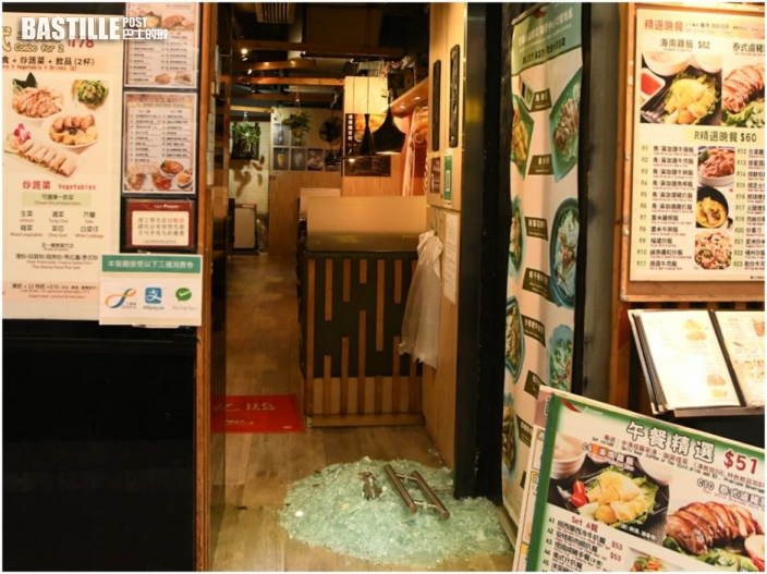 大圍紅磡兩食肆遇竊 賊人爆玻璃門抬走夾萬