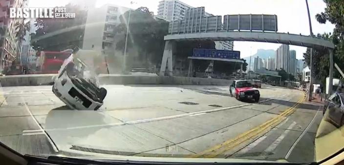 私家車失事翻滾如「炮彈飛車」3人傷 的士撞上涼茶店