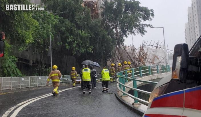 樂活道外牆棚架倒塌壓2車1司機傷 2女工被困獲救1人昏迷