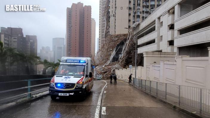 暴雨肆虐|樂活道外牆棚架倒塌壓2車 一名女工送院不治