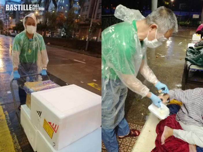 八號風球下繼續派飯 深水埗明哥獲網民大讚:香港的英雄!