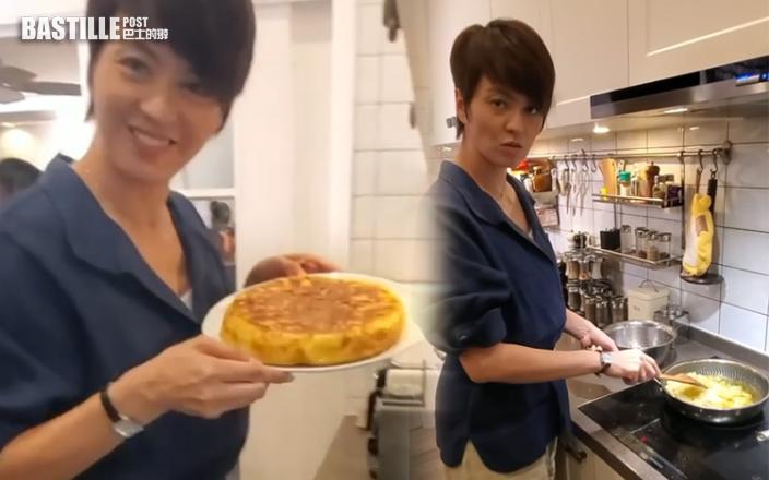 梁詠琪拍攝現場煮西班牙蛋餅   疑正為ViuTV拍新劇