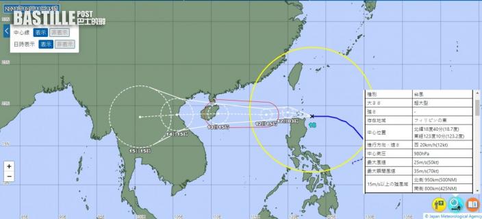 「圓規」強風圈直徑超過1700公里 屬「超大型」風暴