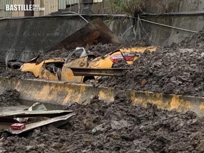 桃園砂石廠泥石崩塌壓毀路過的士 司機被活埋身亡