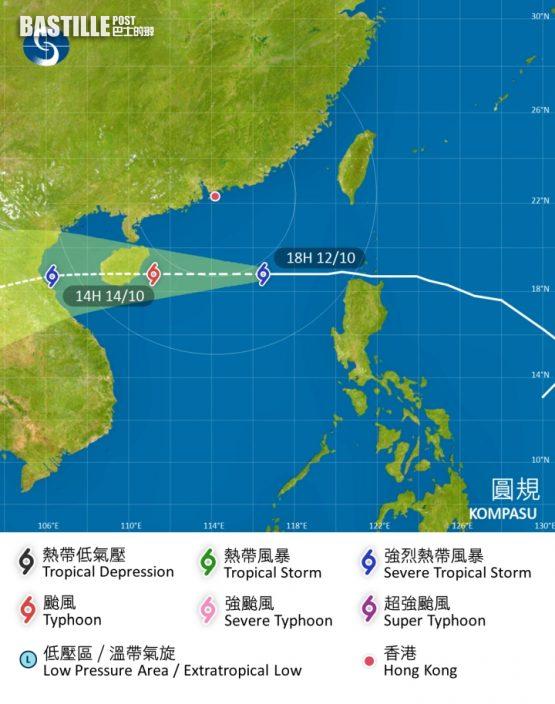 圓規襲港 天文台:視乎風暴移動路徑等因素會否改發更高風球